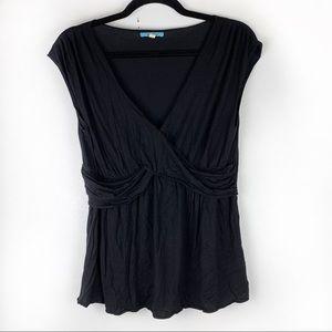 LEIFNOTES Black Sleeveless Blouse Ruched V-Neck S